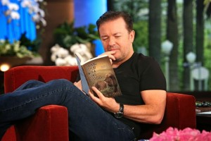 Ricky Gervais reading Melissa Haynes' book
